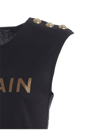 BUTTONS SLEEVELESS T-SHIRT IN BLACK BALMAIN | 8 | UF01000I5910PA