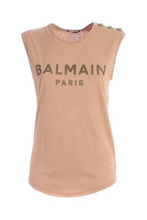 BUTTONS SLEEVELESS T-SHIRT IN NUDE COLOR BALMAIN | 8 | UF01000I5918KE