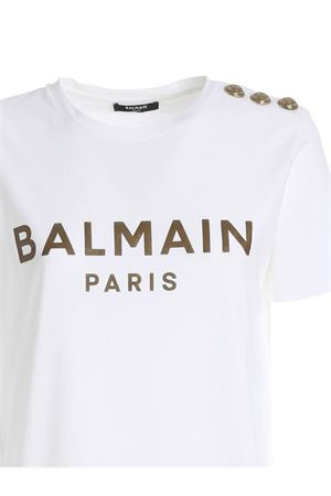 BUTTONS ON THE SHOULDER T-SHIRT IN WHITE BALMAIN | 8 | UF01350I5910FA