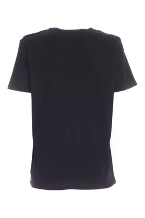 BUTTONS ON THE SHOULDER T-SHIRT IN BLACK BALMAIN | 8 | UF01350I5910PA
