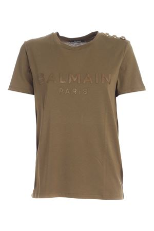 BUTTONS ON THE SHOULDER T-SHIRT IN GREEN BALMAIN | 8 | UF01350I5917KH