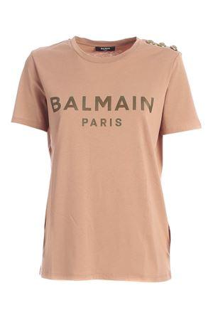 BUTTONS ON THE SHOULDER T-SHIRT IN NUDE COLOR BALMAIN | 8 | UF01350I5918KE