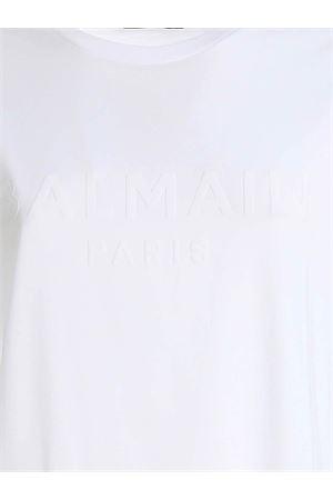 VELVET LOGO T-SHIRT IN WHITE BALMAIN | 8 | UF01350I6170FA