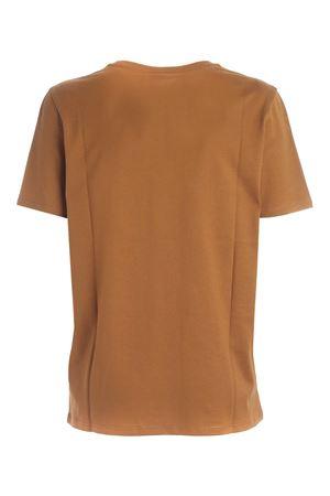 FLOCK LOGO T-SHIRT IN CAMEL COLOR  BALMAIN | 8 | UF01350I6178KJ
