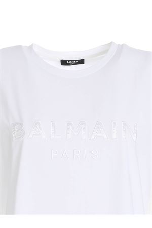 LOGO PATCH T-SHIRT IN WHITE BALMAIN | 8 | UF01351I5900FA