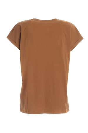 LOGO PATCH T-SHIRT IN CAMEL COLOR BALMAIN | 8 | UF01351I5908KJ