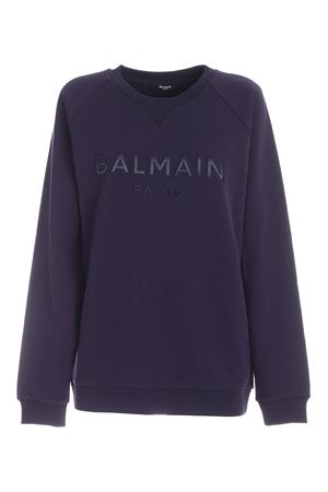 LOGO PATCH SWEATSHIRT IN INDIGO BLUE COLOR BALMAIN | -108764232 | UF03691I4976UC