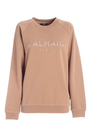 LOGO PATCH SWEATSHIRT IN NUDE COLOR BALMAIN | -108764232 | UF03691I4978KE