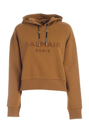 CROP HOODIE IN CAMEL COLOR BALMAIN | -108764232 | UF03792I5988KJ