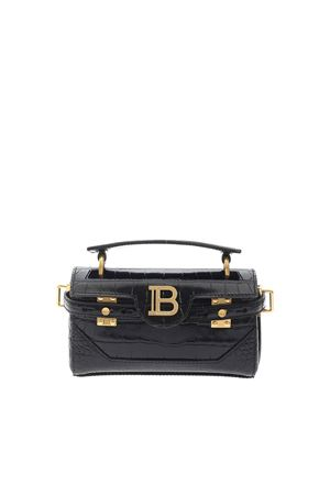 CROCODILE PRINT SHOULDER BAG IN BLACK