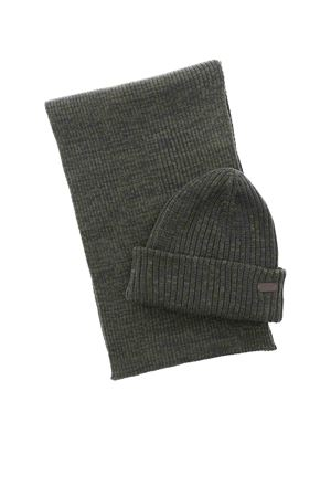 CRIMDON BEANIE AND SCARF SET IN GREEN