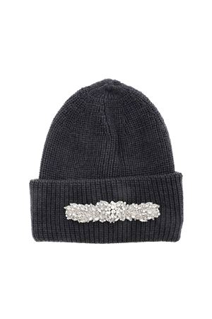 JEWEL FRONT BEANIE IN ANTHRACITE COLOR DONDUP | 26 | WQ088Y00478DZI3DD908