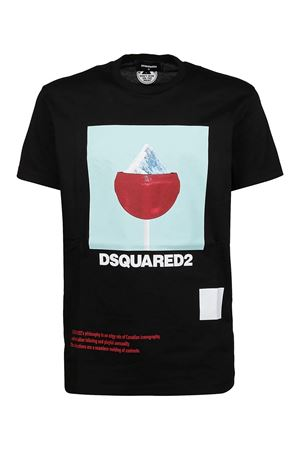 T-SHIRT ICEY IN JERSEY DI COTONE CON STAMPA NERA S71GD0948S22427900 DSQUARED2 | 8 | S71GD0948S22427900