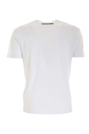 SYNTHETIC LEATHER PATCH T-SHIRT IN WHITE DSQUARED2 | 8 | S71GD0977S22427100