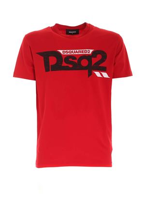 CONTRASTING PRINT T-SHIRT IN RED