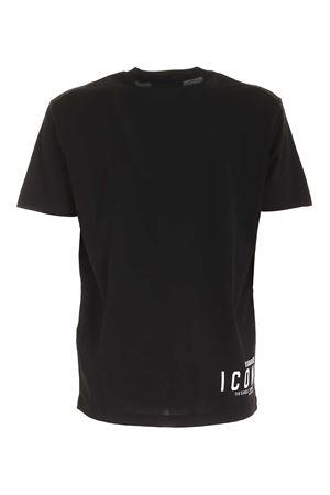 CONTRASTING PRINT T-SHIRT IN BLACK