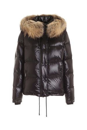 HOOD AND FUR DOWN JACKET IN BLACK