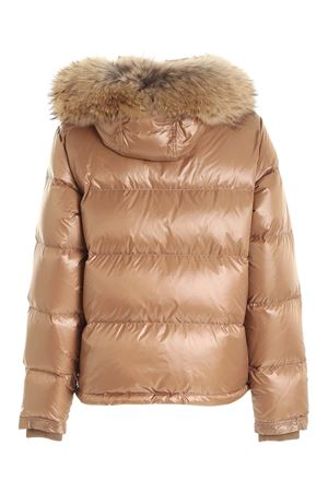 HOOD AND FUR DOWN JACKET IN BROWN