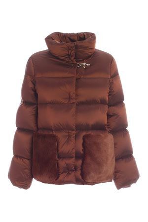 DOWN JACKET WITH BROWN SYNTHETIC FUR INSERTS FAY | 783955909 | NAW32414040SJFG833