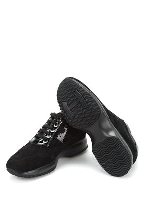 INTERACTIVE SNEAKERS IN BLACK WITH SEQUINS HOGAN | 120000001 | HXW00N0564025Q9999