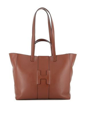 HAMMERED LEATHER SHOPPING BAG IN BROWN HOGAN | 5032266 | KBW01BA1400O6RS204