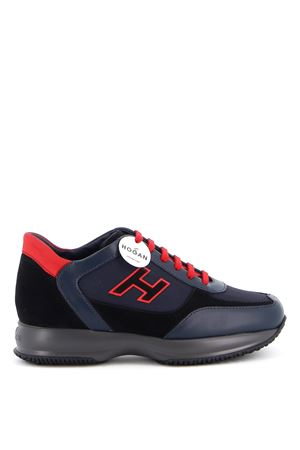 INTERACTIVE SUEDE AND LEATHER SNEAKERS IN BLUE HOGAN | 120000001 | HXM00N0Q101O8M50BU