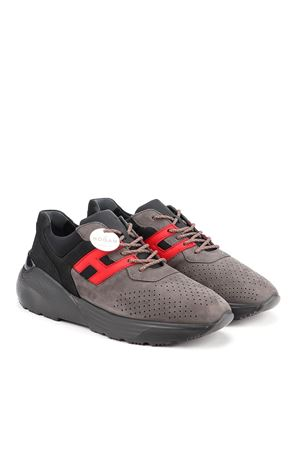 ACTIVE ONE SNEAKERS IN GREY AND RED HOGAN | 120000001 | HXM4430BR10O8E785P
