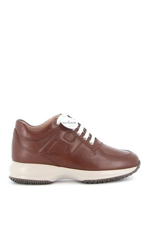 INTERACTIVE LEATHER SNEAKERS IN BROWN HOGAN | 120000001 | HXW00N00010O6LS601