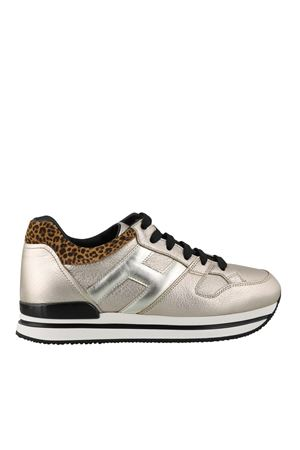 H222 GOLD SNEAKERS WITH LEOPARD-PRINT HEEL TAB HOGAN | 120000001 | HXW2220T548O973X95