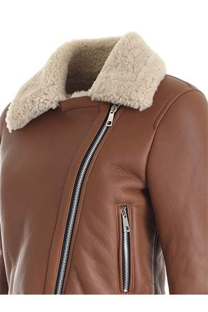 BROWN LEATHER JACKET FEATURING FUR DETAIL HOGAN | 3 | KJW1241007PSBTS604