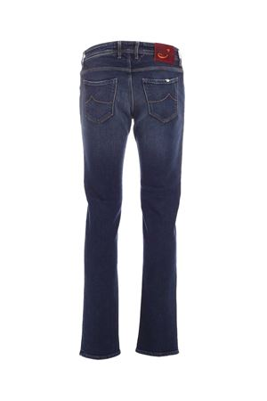 BURGUNDY LOGO FADED JEANS IN BLUE
