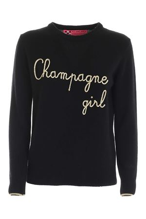 PULLOVER NERO CON RICAMO CHAMPAGNE GIRL QUEENEMCG0R MC2 SAINT BARTH | -1384759495 | QUEENEMCG0R