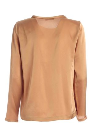 RAW CUT CREWNECK BLOUSE IN ALMOND COLOR PAOLO FIORILLO CAPRI | 10000004 | 09282701ALMOND