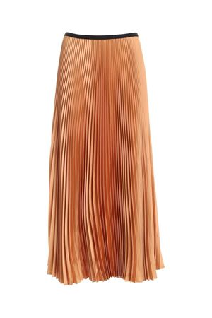 SATIN PLEATED SKIRT IN DARK BEIGE PAOLO FIORILLO CAPRI | 15 | 1562L2701ALMOND