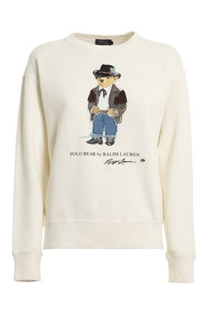 COWBOY POLO BEAR PRINT SWEATSHIRT IN CREAM COLOR