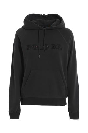 LEATHER LOGO HOODIE IN BLACK POLO RALPH LAUREN | -108764232 | 211800298001