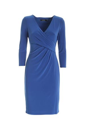 CROSSED V-NECK DRESS IN BLUE POLO RALPH LAUREN | 11 | 250768183015