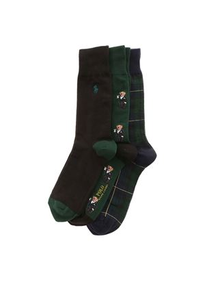 SET OF 3 SOCKS IN GREEN AND BLACK