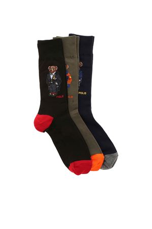 SET OF 3 SOCKS IN BLACK GREEN AND BLUE