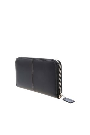LOGO LEATHER WALLET IN BLACK TOD