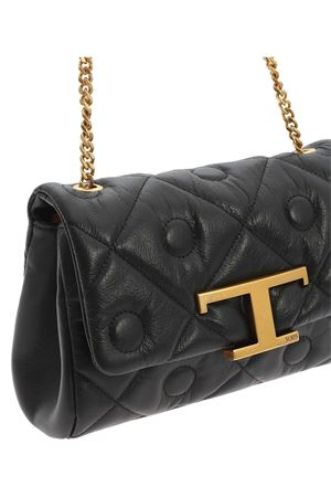 LEATHER SHOULDER BAG IN BLACK TOD