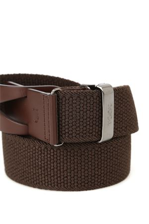 BELT IN CANVAS AND LEATHER - BROWN TOD
