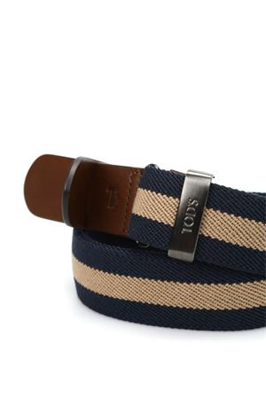 CANVAS AND LEATHER BELT IN BLUE AND BEIGE TOD