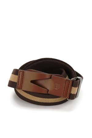 CANVAS AND LEATHER GRECA BELT IN BROWN
