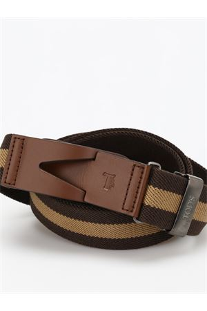 CANVAS AND LEATHER GRECA BELT IN BROWN TOD