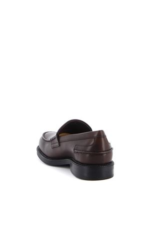 LEATHER EMBOSSED LOGO LOAFERS IN BROWN TOD
