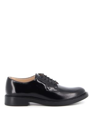 SMOOTH LEATHER LACE-UP SHOES IN BLACK TOD