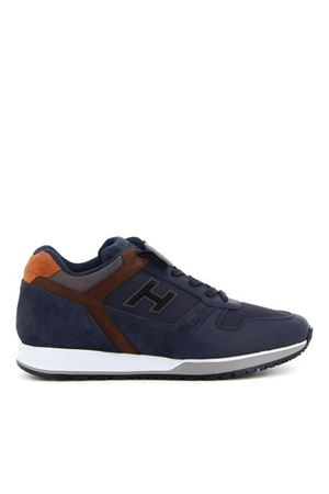 H321 LEATHER AND SUEDE SNEAKERS IN BLUE HOGAN | 120000001 | HXM3210Y860QD1816L