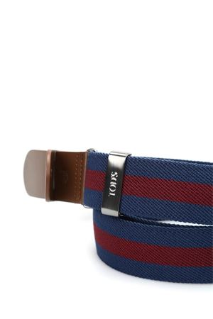 CANVAS AND LEATHER BELT IN BLUE AND RED TOD