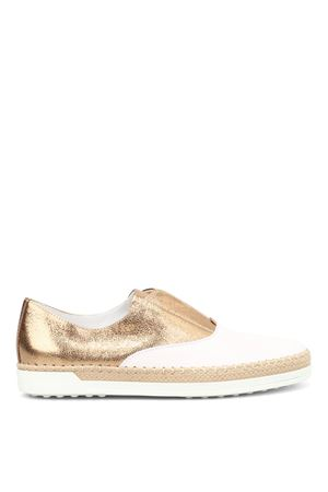 Leather and raffia Oxford slip-ons TOD